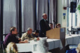 Professor Paul Bookbinder speaking at a teach-in on terrorism following the 9/11 attacks, 2001