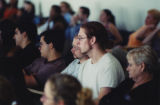 Attendees listening to a speaker at 9/11 terrorism teach-in, 2001