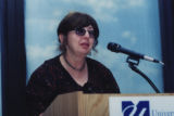 Esther Kingston-Mann speaking at a 9/11 terrorism teach-in, 2001