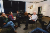Paul Tucker discussing plans for Maya Lin's permanent installation on campus, 2003