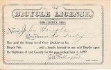 1899 Ohio bicycle license