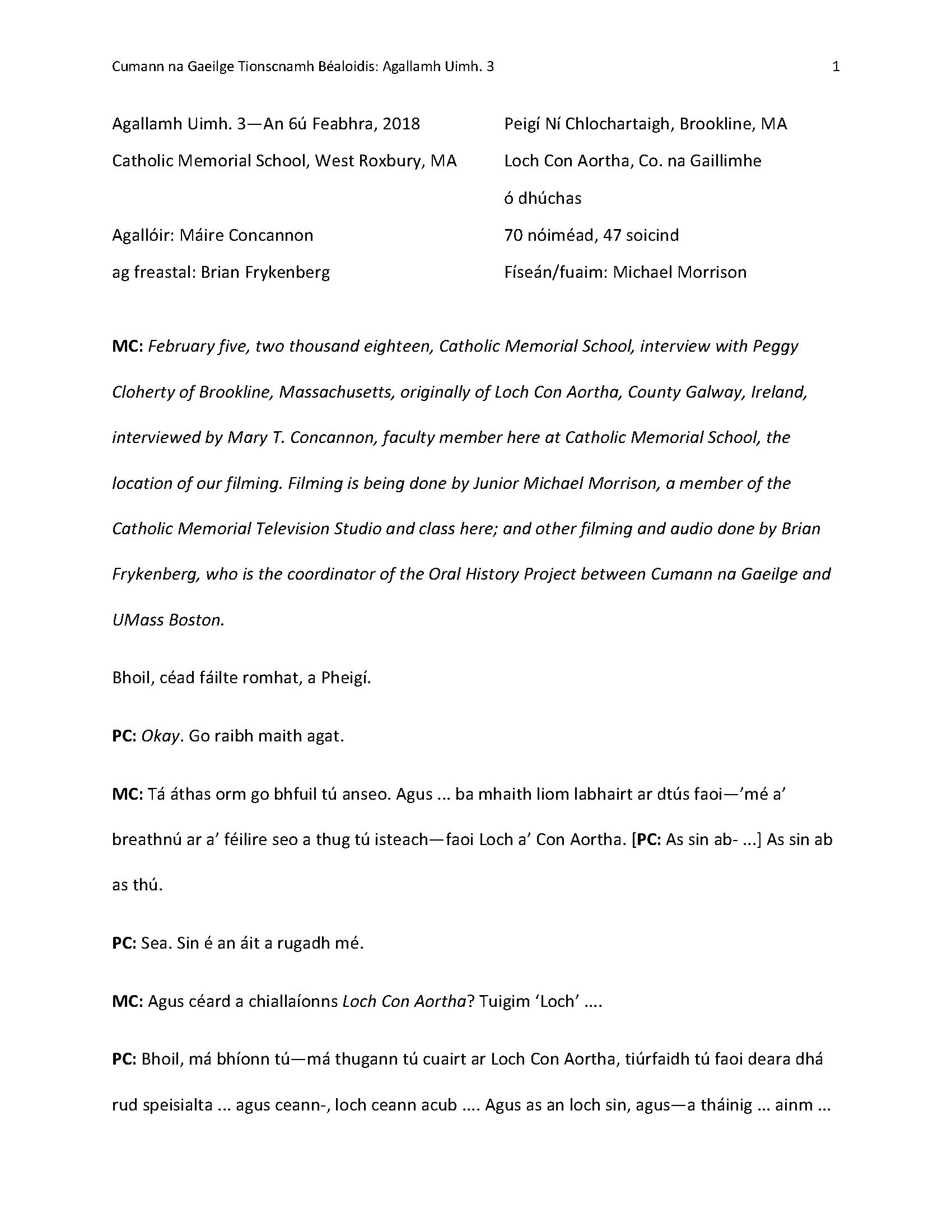 Irish transcription of interview with Peggy Cloherty (PDF
